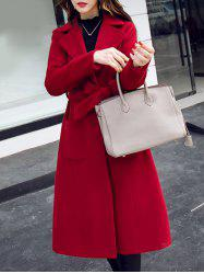 Lapel Belted Long Coat Dress