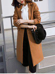 Lapel Back Slit Long Coat