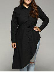 Belted Asymmetrical Plus Size Shirt Dress -