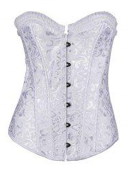 Jacquard Lace-Up Pleated Corset - WHITE 4XL