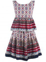 Printed Flounce Tank Top + A-Line Skirt Twinset -