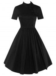 High Waisted Buttoned Flare Dress - BLACK 2XL