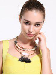 Alloy Rhinestone Layered Tassel Beaded Necklace