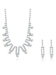 Rhinestoned Faux Pearl Wedding Jewelry Set - SILVER