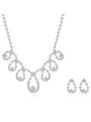 Rhinestoned Water Drop Bridal Jewelry Set - SILVER