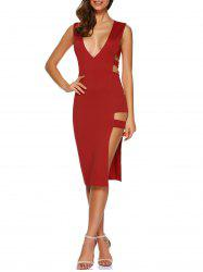 Deep V Neck Cutout Bodycon Night Out Dress - RED XL