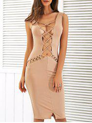 Crisscross Strap Cutout Bodycon Club Midi Dress