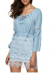 Lace Trim Mini Denim Dress - Bleu Clair