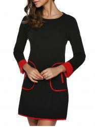 Contrasting Piped Mini A Line Dress - BLACK