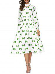 Long Sleeve Bow Print Dress -