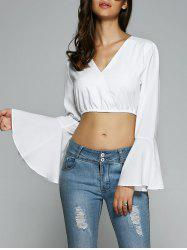 Bell Sleeve Chiffon Crop Belly Top
