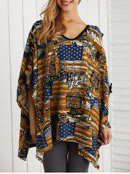 Asymmetric V Neck Cartoon Print Knitwear -