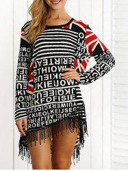 Letter Print Fringed High Low Mini Dress