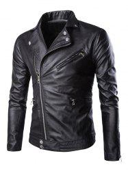 Side Zipper-Up Turn-Down Collar Faux Leather Jacket - BLACK