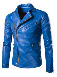 Side Zipper-Up Turn-Down Collar Faux Leather Jacket