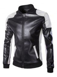 Ventilate Design Color Block Faux Leather Jacket - BLACK