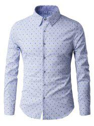 Rhombus Pattern Button-Up Long Sleeve Shirt - LIGHT BLUE