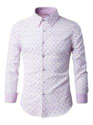 Rhombus Pattern Button-Up Long Sleeve Shirt