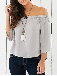 Off The Shoulder Back Bowknot Decorated Blouse -