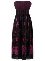 Elastic Pleated Butterfly Embroidered Tube Dress -