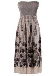 Strapless Smocked Flower Embroidered Dress - LIGHT COFFEE