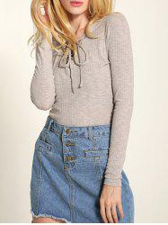 Long Sleeve Front Lace-Up Knitwear -