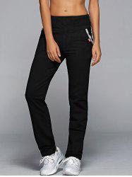 High Waisted Pockets Straight Pants - BLACK