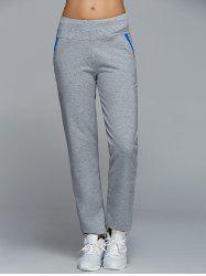 High Waisted Pockets Straight Pants - LIGHT GRAY