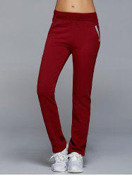 High Waisted Pockets Straight Pants - WINE RED