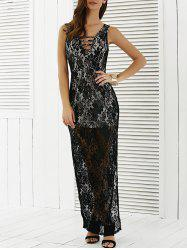 Lace Sheer High Slit Maxi Prom Dress