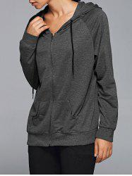 Zipper Hooded Running Jacket - DEEP GRAY L