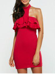 Flounce Halter Club Bodycon Christmas Day Dress