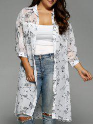 Plus Size Floral Print Chiffon Long Shirt