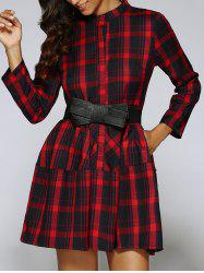 Plaid Pattern Long Sleeve Dress