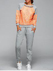 Lace Spliced Sweatshirt With Pants Twinset - ORANGE