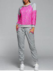 Lace Spliced Sweatshirt With Running Jogger Pants - ROSE RED