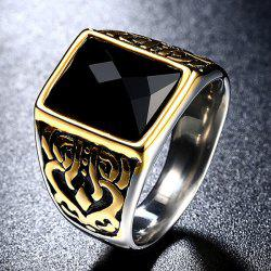 Titanium Steel Faux Gem Geometric Ring -