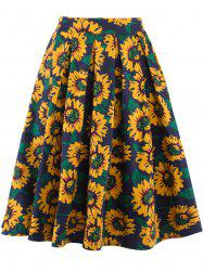 Sunflower Print High Waist Skater Skirt - YELLOW