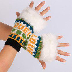 Pair of Knitted Love Letter Plush Fingerless Gloves - YELLOW