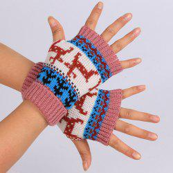Warmer Knitted Deer Splicing Fingerless Gloves - DEEP PINK