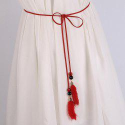 Double Bead and Plush Tassel Waist Rope - RED