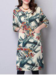 Long Sleeve Loose Vintage Print Dress