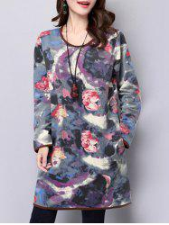 Long Sleeve Loose Abstract Print Dress