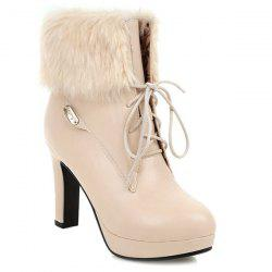 Lace-Up Faux Fur Chunky Heel Short Boots