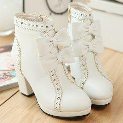 Chunky Heel Bowknot Scalloped Engraving Ankle Boots -
