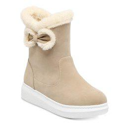 Plush Spliced Bowknot Short Boots