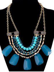 Faux Crystal Alloy Rhinestone Beaded Necklace - NAVY BLUE