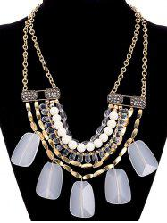 Faux Crystal Alloy Rhinestone Beaded Necklace -
