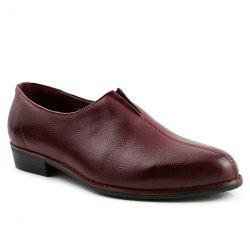 PU Leather Pointed Toe Elastic Formal Shoes - WINE RED 41