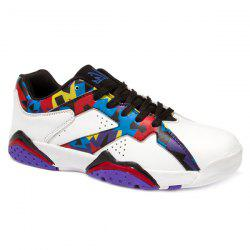 PU Leather Lace-Up Geometric Print Athletic Shoes - WHITE